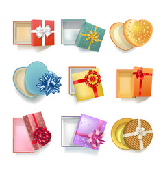 Realistic gift boxes with open covers colorful set vector