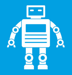 Robot icon white vector