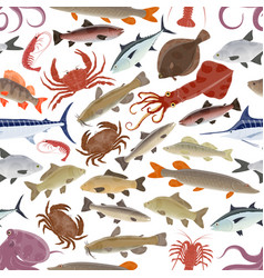 Seafood fish pattern with crab salmon octopus vector