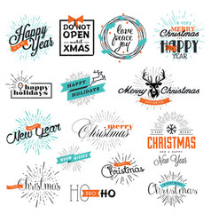 Set christmas and new year signs vector