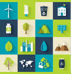 set of ecology flat icons concept vector image