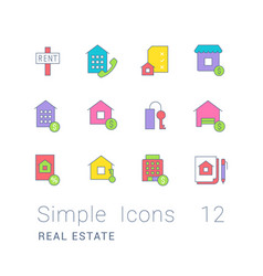 set simple line icons real estate vector image