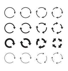 sets black circle arrows icons vector image