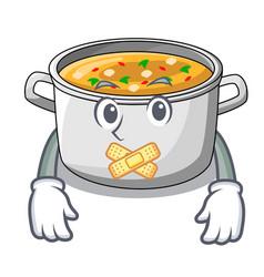 Silent cartoon homemade stew soup in the pot vector