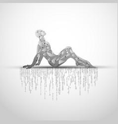 Sitting cyborg vector