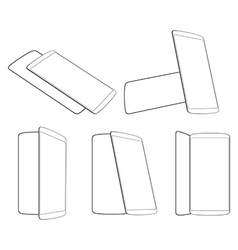 Smartphones foreshortening outline vector
