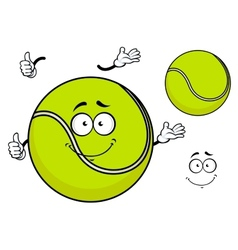 Smiling green cartoon tennis ball vector image