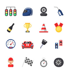 sport symbols of racing car motor track and vector image