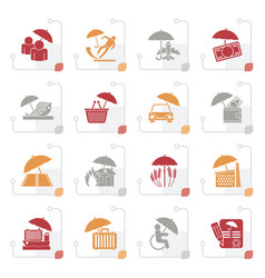 Stylized insurance risk and business icons vector