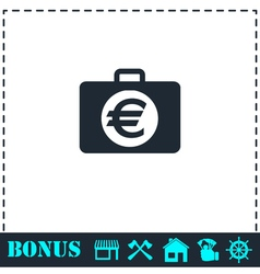 Suitcase icon flat vector