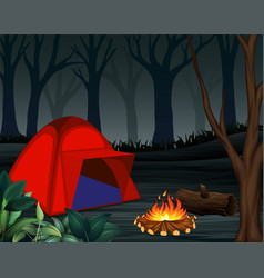 Tents with bonfire on dark night forest background vector