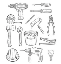Tool sketch of repair and construction instrument vector