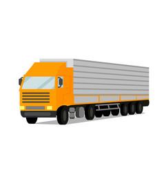 Tractor cargo trailer flat vector