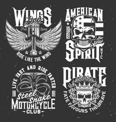 tshirt prints with engine valves skulls and cobra vector image
