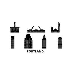 United states portland flat travel skyline set vector
