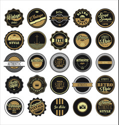 vintage labels black and brown set vector image