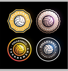 volleyball circular logo set modern professional vector image