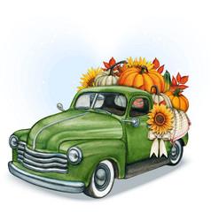 Watercolor hand drawn fall pickup full of pumpkins vector
