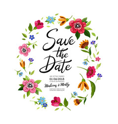 wedding invitation with calligraphy save the date vector image