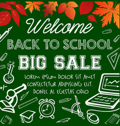 Welcome back to school sale promotion poster vector