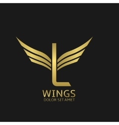 Wings L letter logo vector