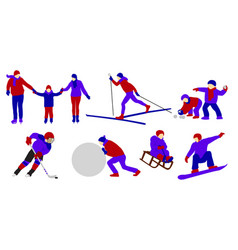 Winter outdoor activities ice hockey ice skating vector