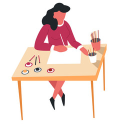 Woman drawing with pencils hobby and art leisure vector