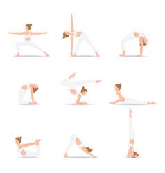 women yoga poses isolated on white background vector image