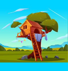 Wooden house on tree empty children playground vector