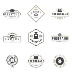 bakery shop logos templates set object and vector image