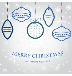 Christmas set of fir tree and evening balls new vector image