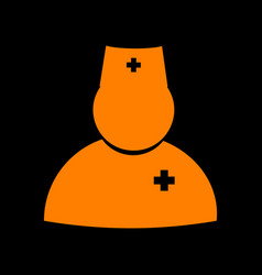 doctor sign orange icon on black vector image