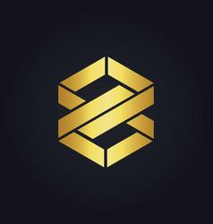 Shape infinity eight gold logo vector