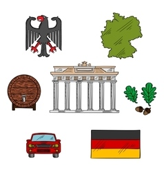 German culture and travel icons vector image