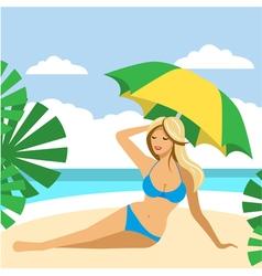 Hot girl on a beach under umbrella vector image vector image
