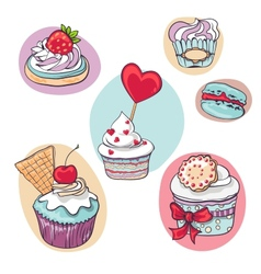 isolated set of cupcake on white vector image