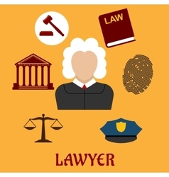 Law and justice flat icons vector image vector image