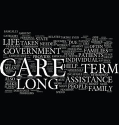 Long term assistance guide text background word vector