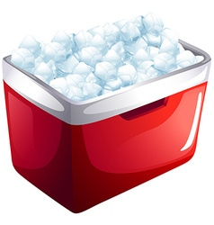 Red icebox full of ice vector