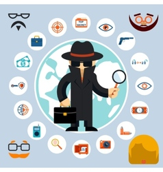 Spy with accessories icons vector image