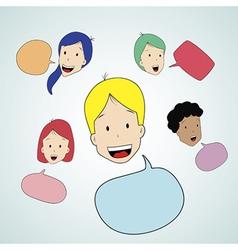 Teen talking with speak bubble vector image vector image