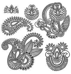 Flowers and Paisley design element vector image vector image
