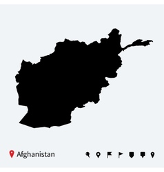 High detailed map of Afghanistan with navigation vector image