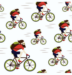 bike delivery messenger hipster seamless pattern vector image