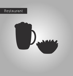 black and white style icon glass of beer and nuts vector image vector image