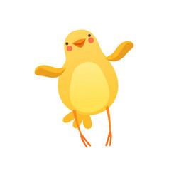 cute baby chicken waving its wings funny cartoon vector image