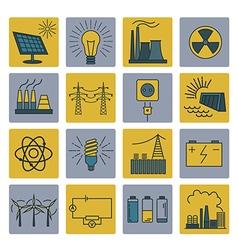 Power energy icon set Colour version design vector image
