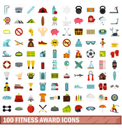 100 fitness award icons set flat style vector image
