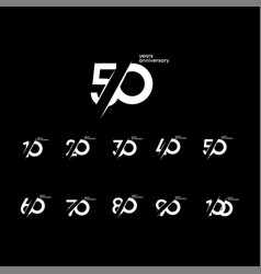 50 years anniversary set 10 20 30 40 60 70 80 90 vector