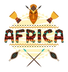 African ethnic background with geometric ornament vector